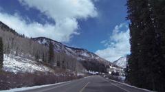 Colorado Rocky Mountains POV clouds road HD 0316 Stock Footage