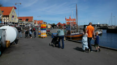 Family on the harbor Stock Footage
