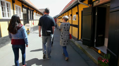 Walking in narrow street with old houses Stock Footage