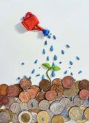 watering money with a clay sprout - stock illustration