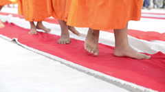 group of monk buddhist walking on fabric - stock footage