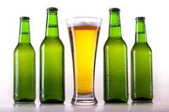 Chilled beer on white background - stock photo