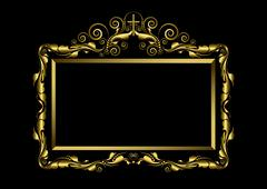 Stock Illustration of Luxury gold frame on black background