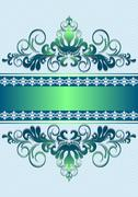 Stock Illustration of Satin green ornament with stripes and ribbon