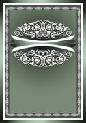 White  frame ornaments on a dark green background - stock illustration