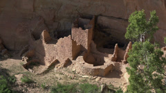 Mesa Verde Square Tower House Indian ruin cliff HD 089 Stock Footage