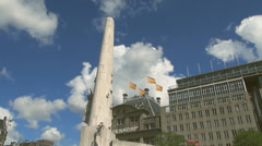 Low Angle of Amsterdam National Monument Stock Footage