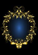 Gold vintage frame with blue stripes background - stock illustration