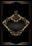Stock Illustration of Antique gold frame with crown on black background