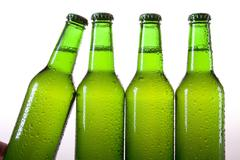 Chilled beer on white background Stock Photos
