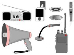 Voice mass telecommunication devices set Stock Illustration