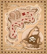 Treasure map theme image  Stock Illustration