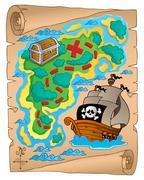 Parchment with treasure map  - stock illustration
