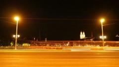 time lapse. night city traffic. cars street lights. 4K background - stock footage
