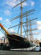 "new york: old, historic ship ""peking"" docked at south street seaport. new yor - stock photo"