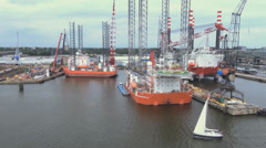 High angle of the Port of Amsterdam Stock Footage