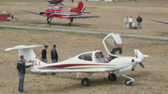 White aircraft Diamond DA-40NG Tundra parked Stock Footage