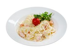 farfalle pasta with salmon - stock photo