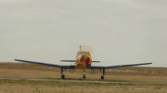 Propeler working on the bow of Yakovlev Yak-52 aircraft Stock Footage