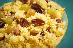 Mesfouf - citrus couscous salad Stock Photos
