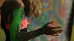 Girl colored paint in a state of meditation and relaxation Stock Footage