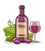 Red wine bottle and full glass goblet of drink Stock Illustration