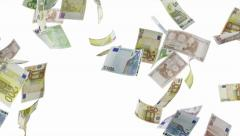 Stock Video Footage of Falling euro bills. Alpha channel is included. Full HD 1080p 30fps