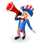 Uncle sam with loudspeaker - stock illustration