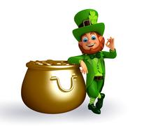 Leprechaun for st patrick's day with golden pot - stock illustration
