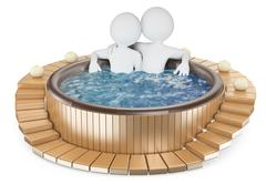 3d white people. couple relaxing in a jacuzzi Piirros