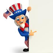 Uncle sam with sign Stock Illustration