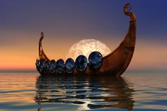 viking boat  - stock illustration