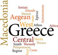 Regions of greece in word clouds isolated on white background.. Stock Illustration
