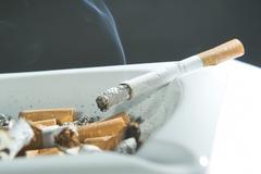 Cigarette in the ashtray - stock photo
