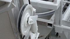 A pulley from a conveyor machine Stock Footage