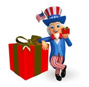 Uncle sam with gift box Stock Illustration