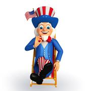 Uncle sam is sitting on the chair - stock illustration