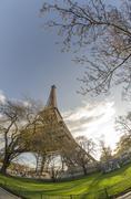 Upward view of Eiffel Tower in Paris Stock Photos