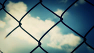 Stock Video Footage of Chain-Link Fence Sky