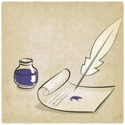 Inkwell pen paper old background Stock Illustration