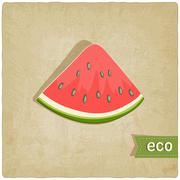 watermelon eco old background - stock illustration