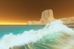 dawn at sea - stock illustration