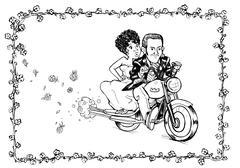 Groom bride motorcycle Stock Illustration