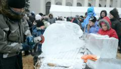 Shrovetide (Maslenitsa) celebration organized by STB channel in Kiev. - stock footage