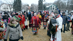Shrovetide (Maslenitsa) celebration organized by STB channel in Kiev. Stock Footage