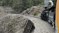 D&S steam locomotive rounds a curve on the highline, POV, HD2007 - stock footage