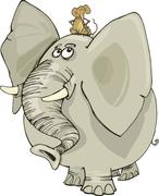 Stock Illustration of elephant with mouse