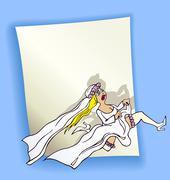 Cartoon design with running bride Stock Illustration