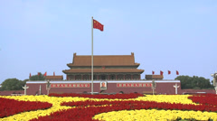Flower Display during National Holiday Week at Tian'anmen Square with Tian'anmen Stock Footage