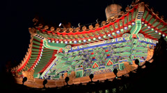 Illuminated Pagoda Roof in Jingshan Park Stock Footage
